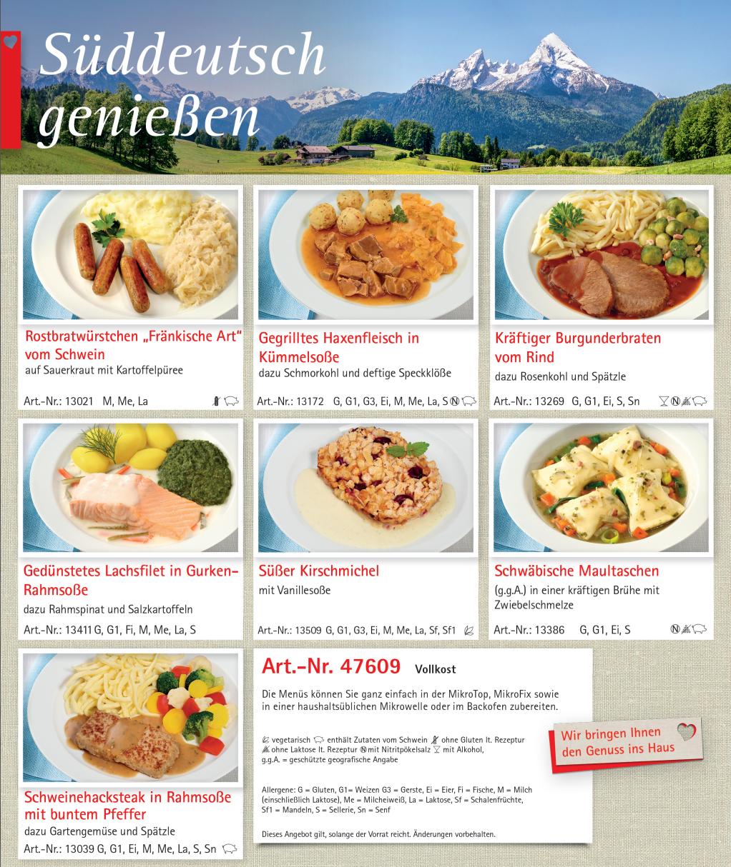 """Menü-Sortiment """"Süddeutsch genießen"""""""