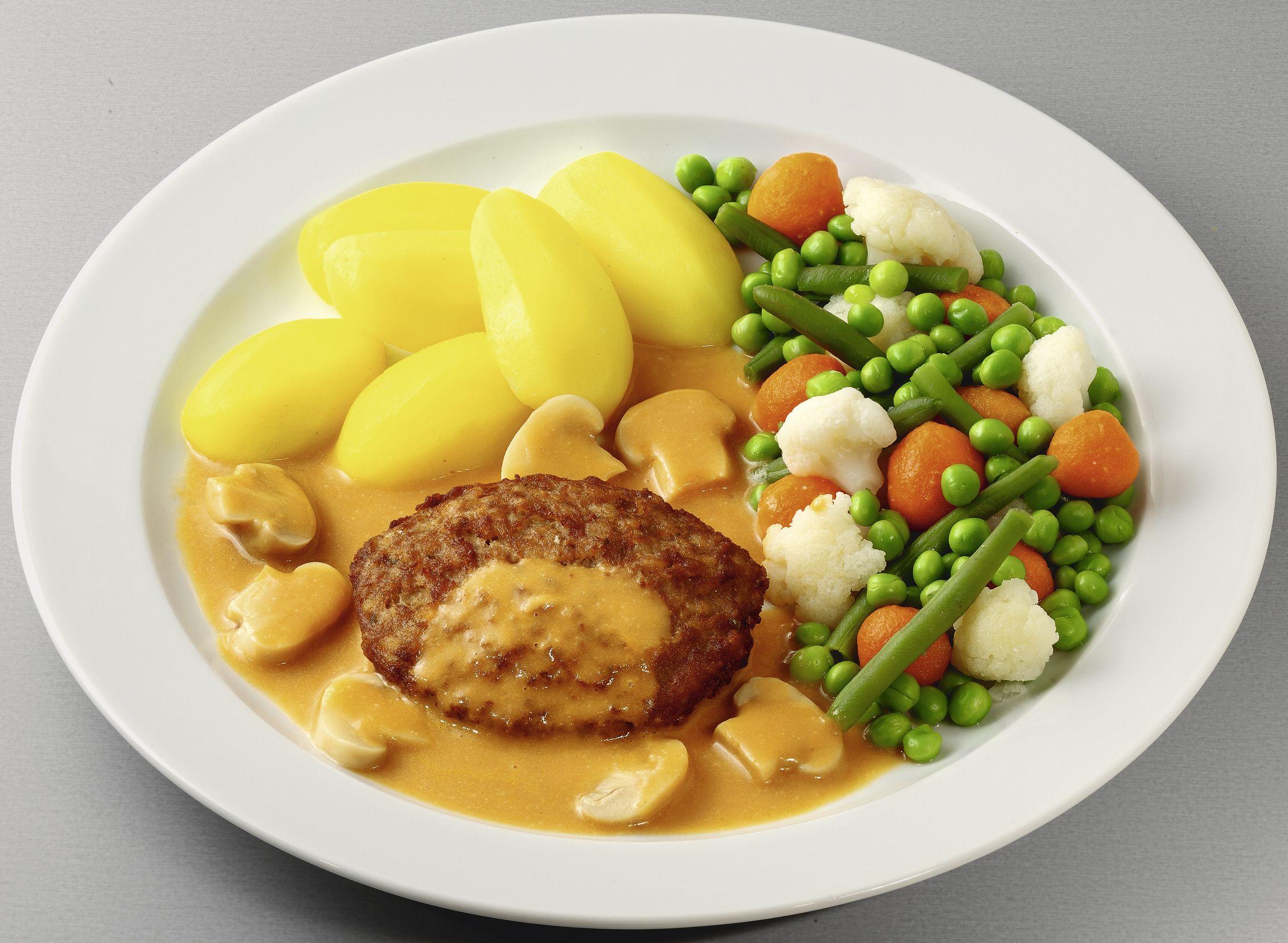 Frikadelle vom Rind und Schwein  in Champignon-Rahmsoße mit Gartengemüse und Salzkartoffeln