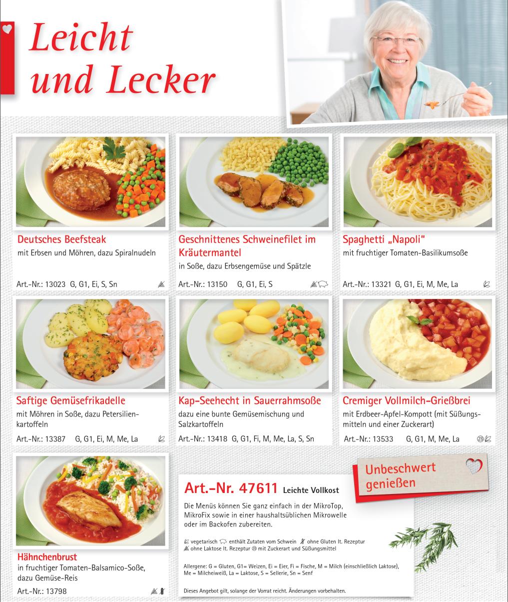 """Menü-Sortiment """"Leicht & Lecker"""""""